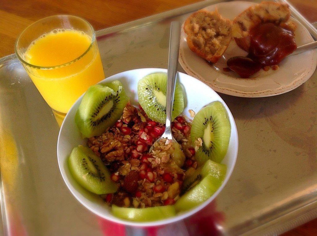 Version light et vegan sur lit de purée de bananes avec kiwi et grenades