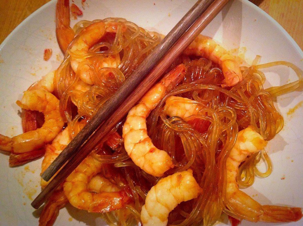 nouilles coréennes crevettes